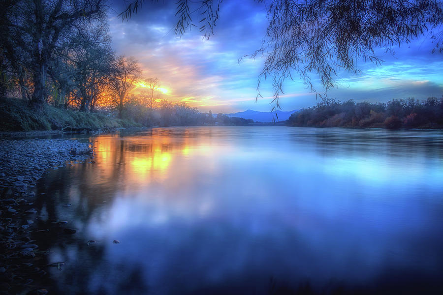Anderson Photograph - The Last Light Sunset On The Sacramento River by Marnie Patchett