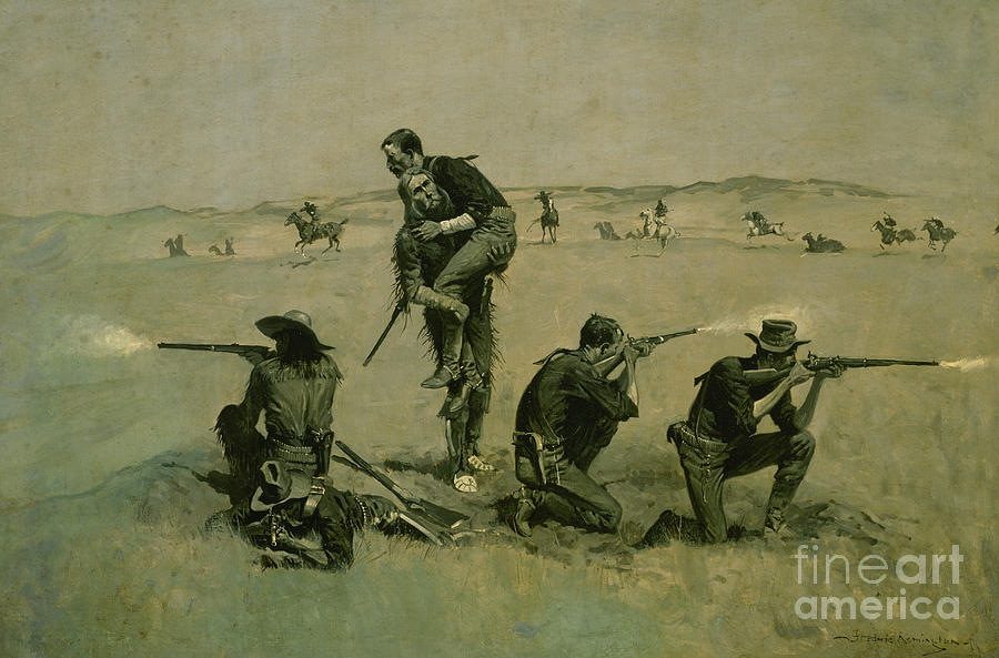 The Last Stand, Twenty Five to One by Frederic Remington