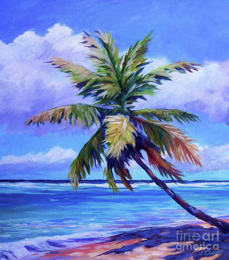 Palm Tree Painting - The Leaning Palm by John Clark