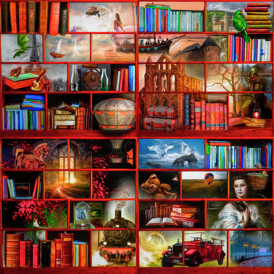 The Library The Fantasy and Fiction Section by Debra and Dave Vanderlaan