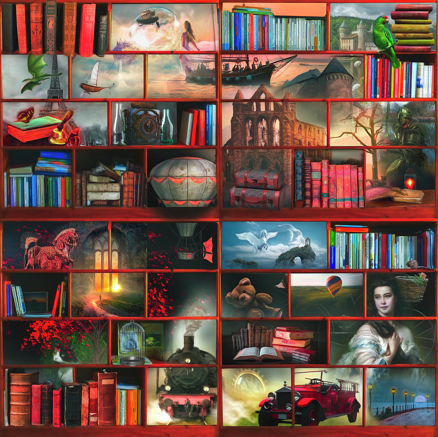 Dragon Digital Art - The Library The Fantasy And Fiction Section Watercolors Painting by Debra and Dave Vanderlaan