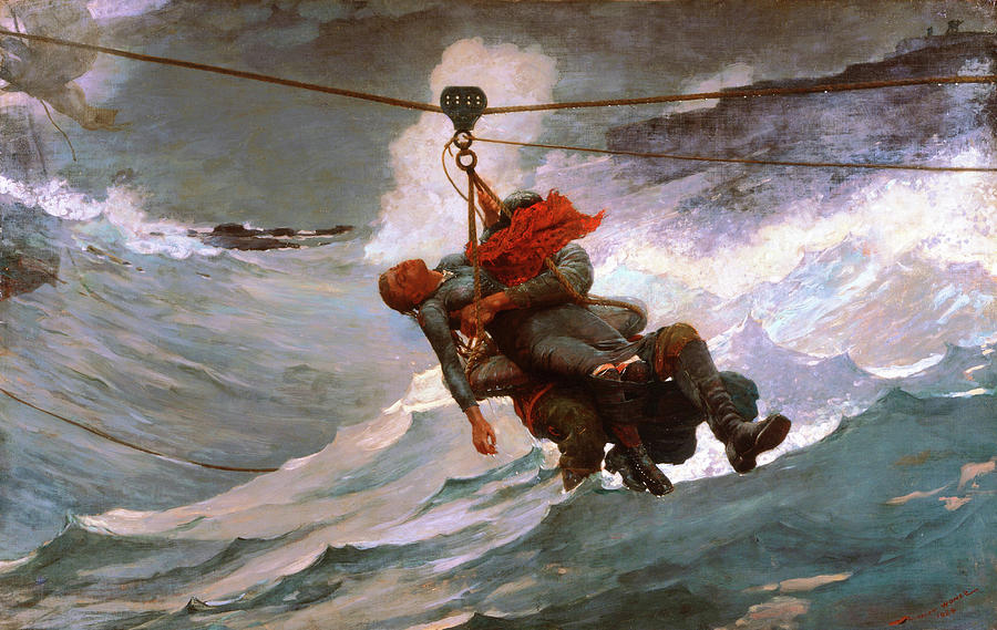Winslow Homer Painting - The Life Line - Digital Remastered Edition by Winslow Homer