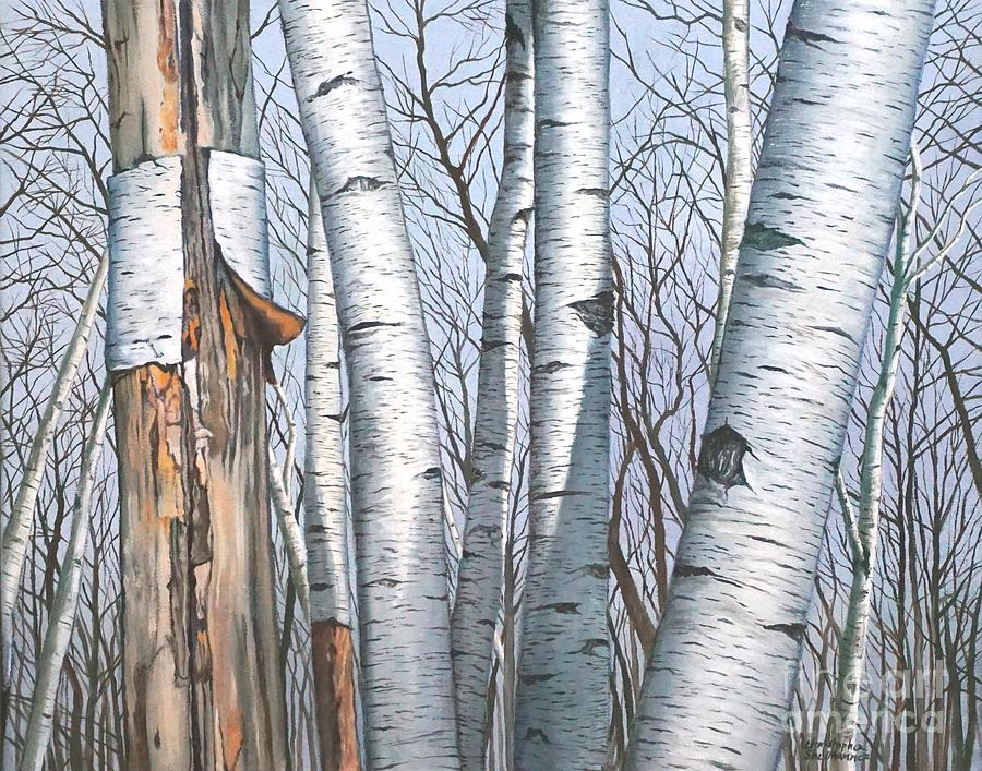 The Life of the Wild Birch Trees in painting by Christopher Shellhammer
