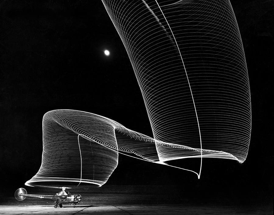The Light Trail Of A Helicopter Photograph by Andreas Feininger