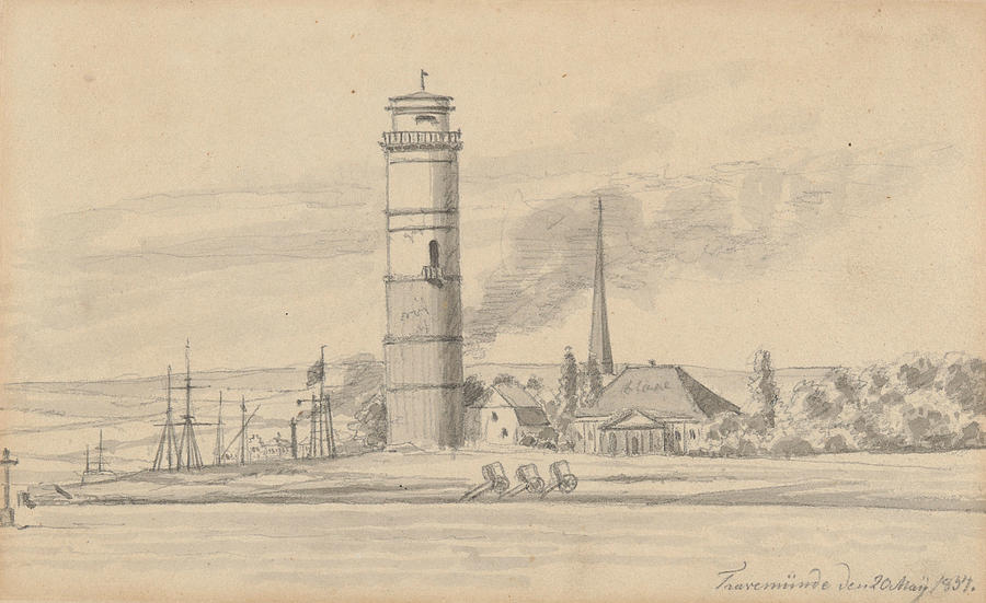 The Lighthouse of Travemunde Seen from the South by Martinus Rorbye