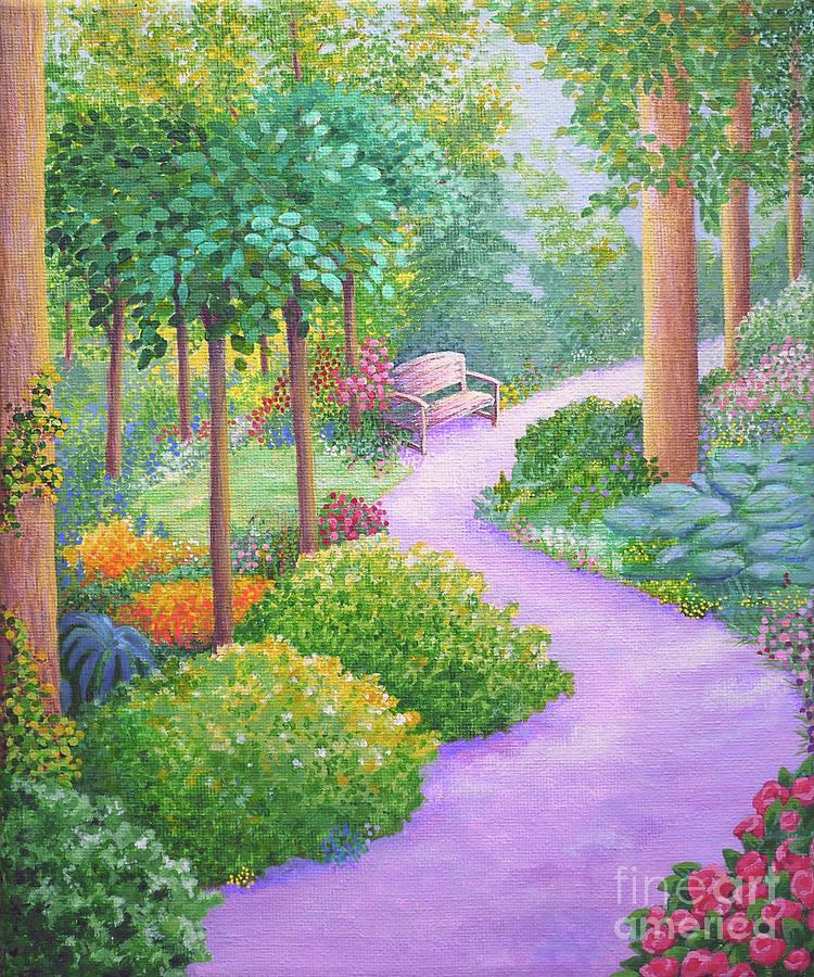 Landscape Painting - The Lilac Path - Rest Awhile by Julia Underwood