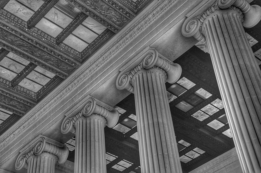 The Lincoln Memorial Washington D. C. - Black And White Abstract Pillars Details 2 Photograph
