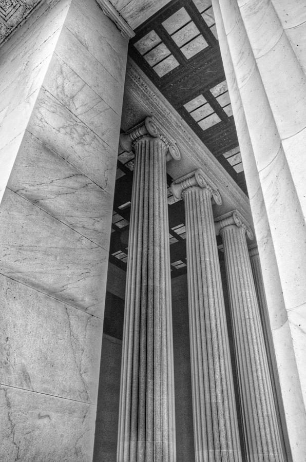 The Lincoln Memorial Washington D. C. - Black And White Abstract Pillars Details 3 Photograph