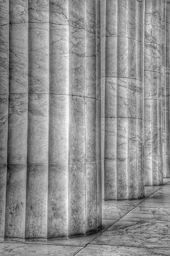 The Lincoln Memorial Washington D. C. - Black and White Abstract Pillars Details 4 by Marianna Mills