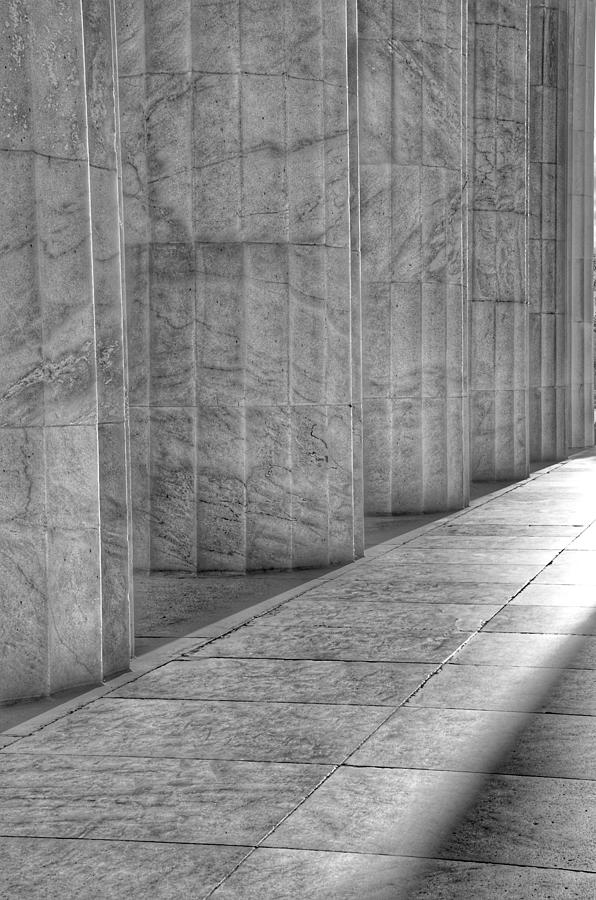 The Lincoln Memorial Washington D. C. - Black and White Abstract Pillars Details 6 by Marianna Mills