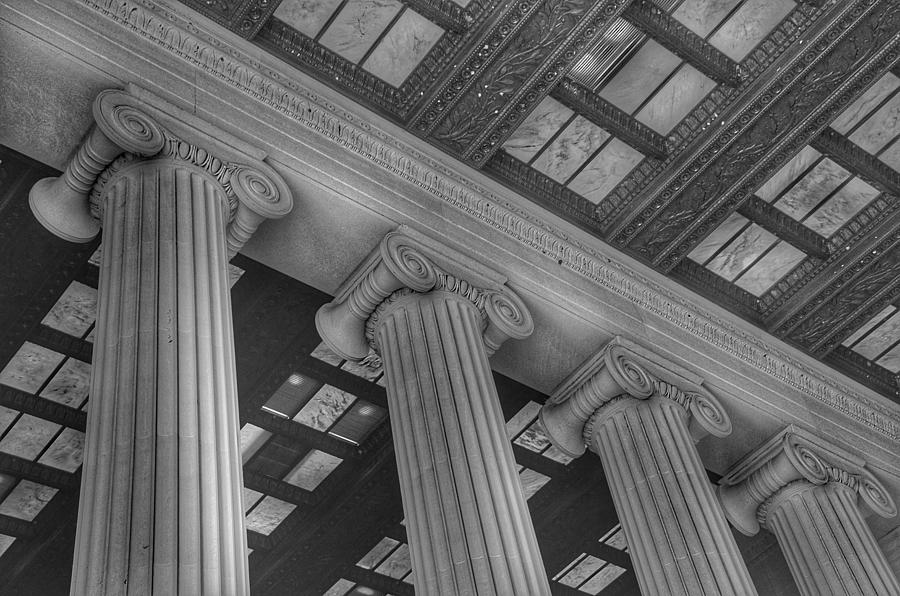 The Lincoln Memorial Washington D. C. - Black And White Abstract Pillars Details Photograph