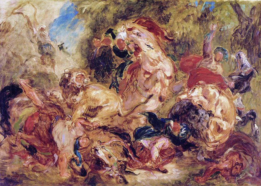 The Lion Hunt Painting - The Lion Hunt - Digital Remastered Edition by Eugene Delacroix