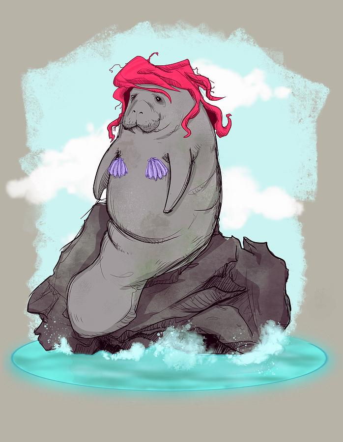 Mermaid Drawing - The Little Manatee  by Ludwig Van Bacon