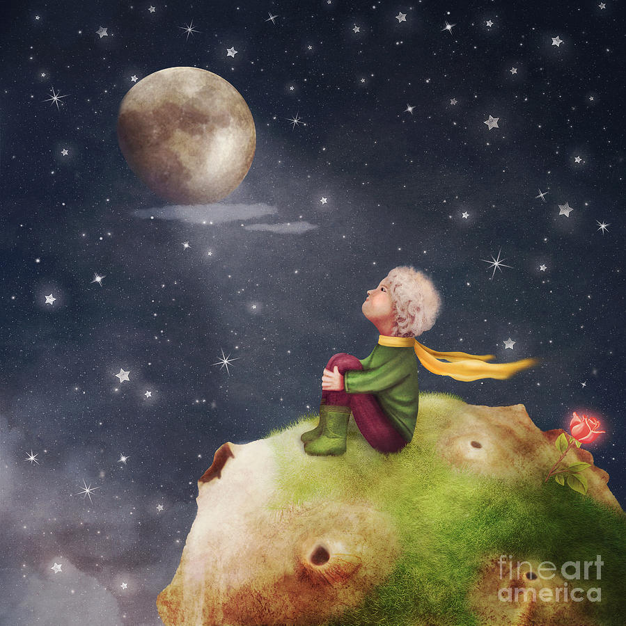 Birthday Digital Art - The Little Prince With A Rose On A by Natalia maroz
