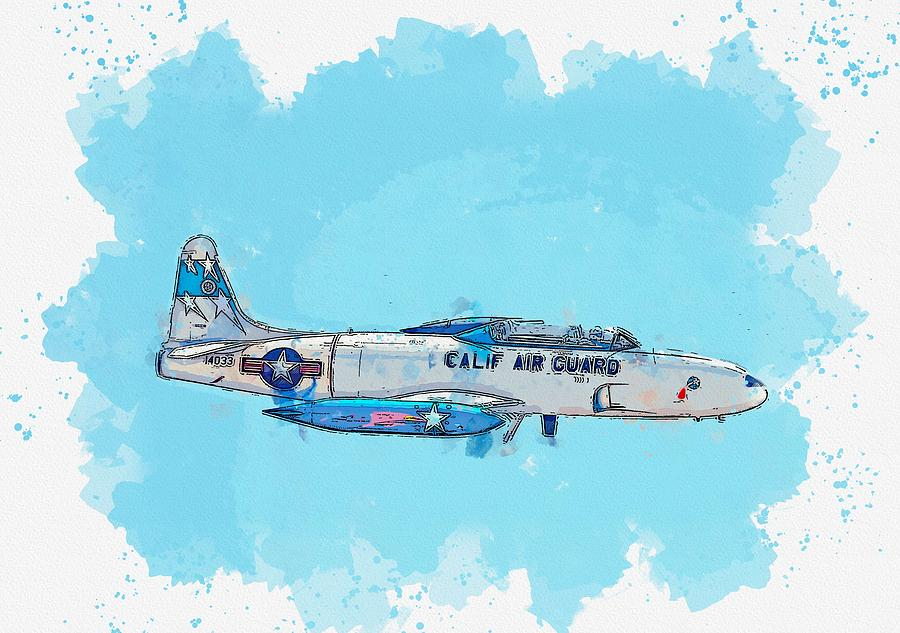 The Lockheed T-33 Shooting Star watercolor by Ahmet Asar by Celestial Images