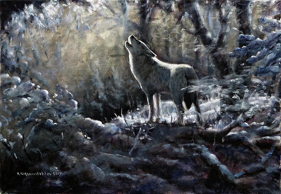 Wolf Painting - The Lone Wolf by Valentin Katrandzhiev