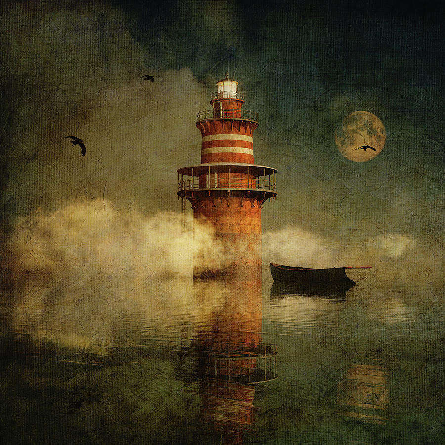 The lonely lighthouse in the fog with full moon by Jan Keteleer