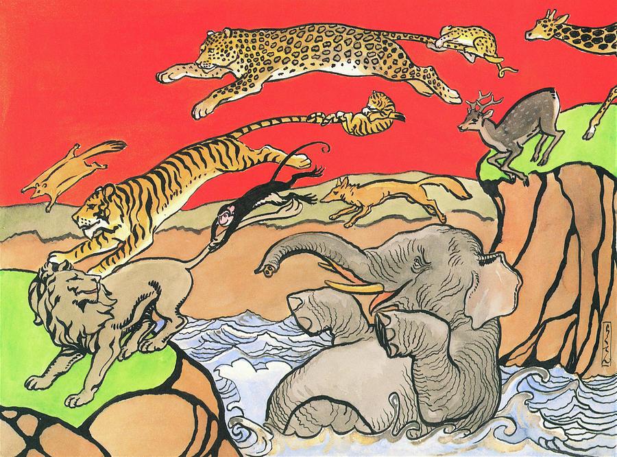 Long Jump Painting - The Long Jump Of Animals - Digital Remastered Edition by Kitazawa Rakuten