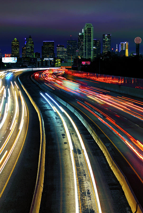 The Long Road to Dallas - Dallas Skyline - Tom Landry Freeway by Jason Politte