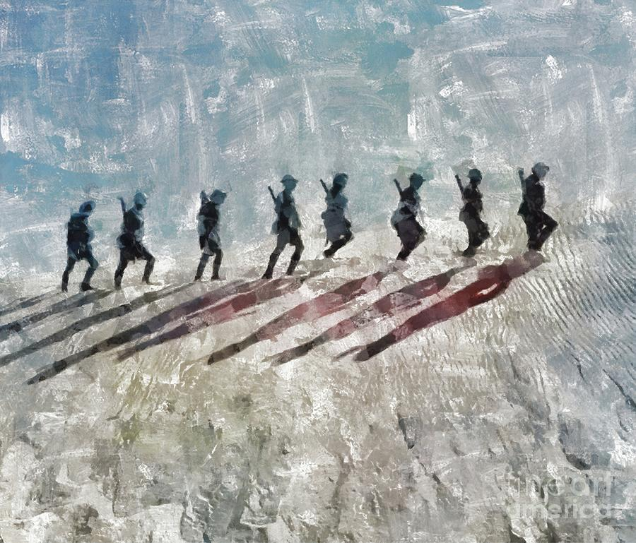 World Painting - The Long Walk, World War Two by Mary Bassett