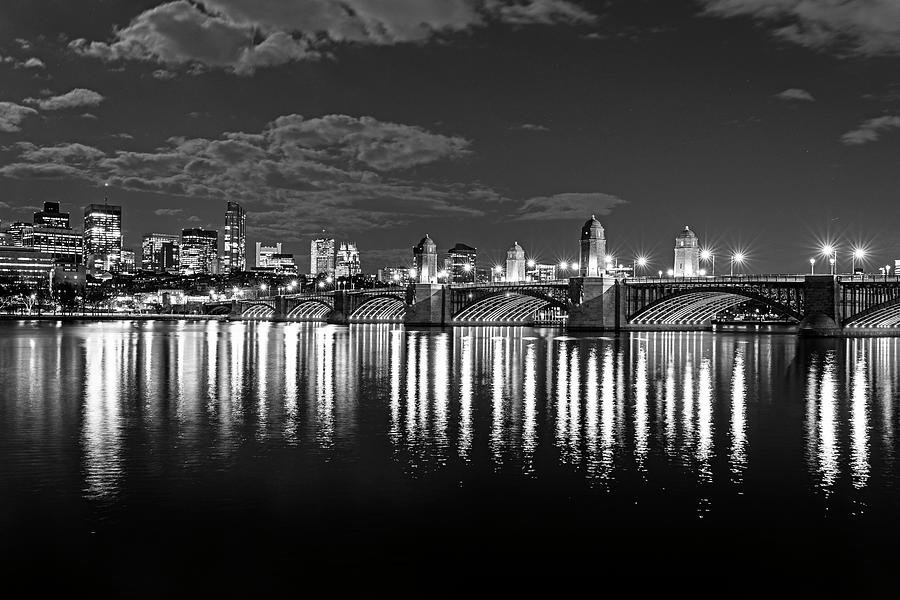 The Longfellow Bridge Lit up at Night Boston MA Reflection Black and White by Toby McGuire