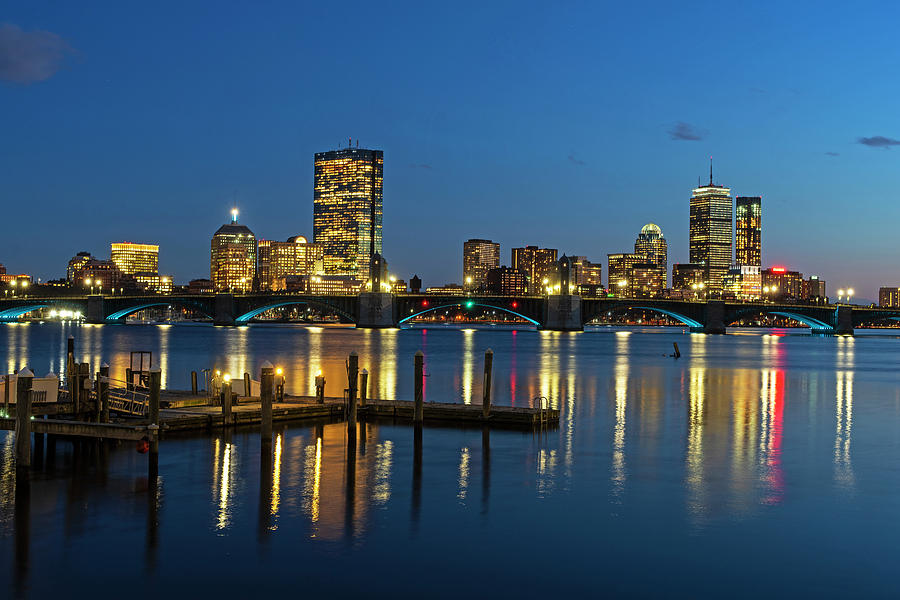 The Longfellow Bridge Lit up at Night Boston MA Reflection Pier by Toby McGuire