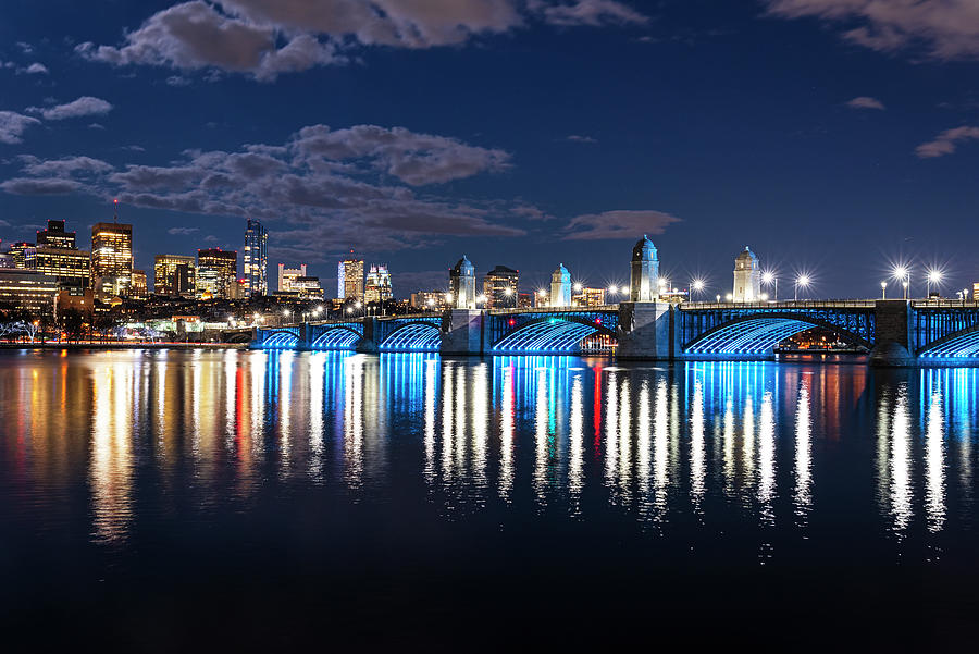 The Longfellow Bridge Lit up at Night Boston MA Reflection by Toby McGuire