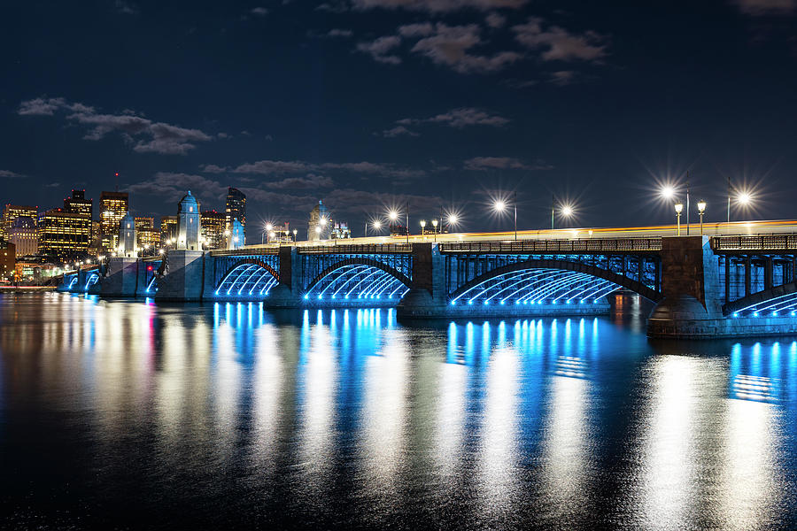 The Longfellow Bridge Lit up at Night Boston MA by Toby McGuire