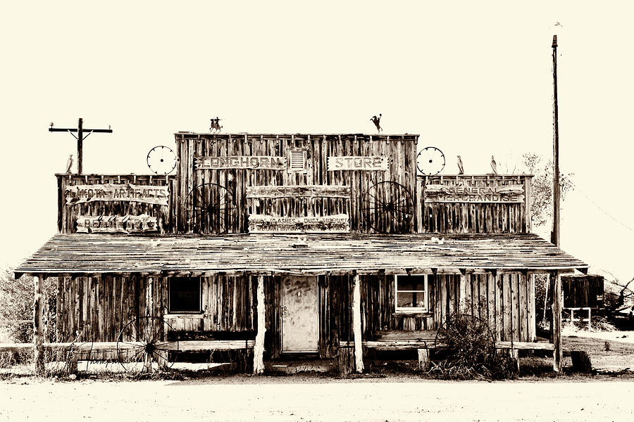 Abandoned Building Photograph - The Longhorn Store by Jim Thompson