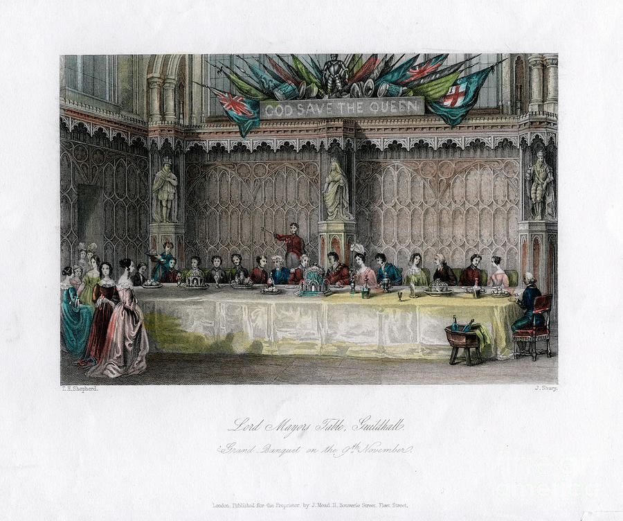 The Lord Mayors Table, Grand Banquet Drawing by Print Collector
