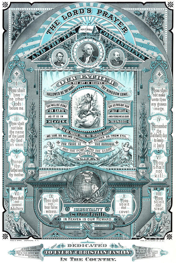 Blue Drawing - The Lords Prayer and the Ten Commandments by American School