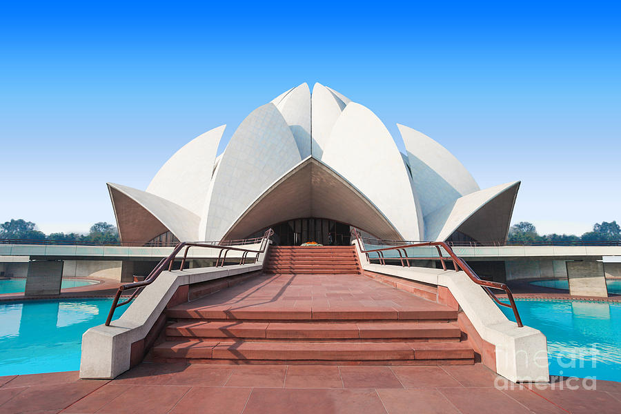 Pond Photograph - The Lotus Temple, Located In New Delhi by Saiko3p
