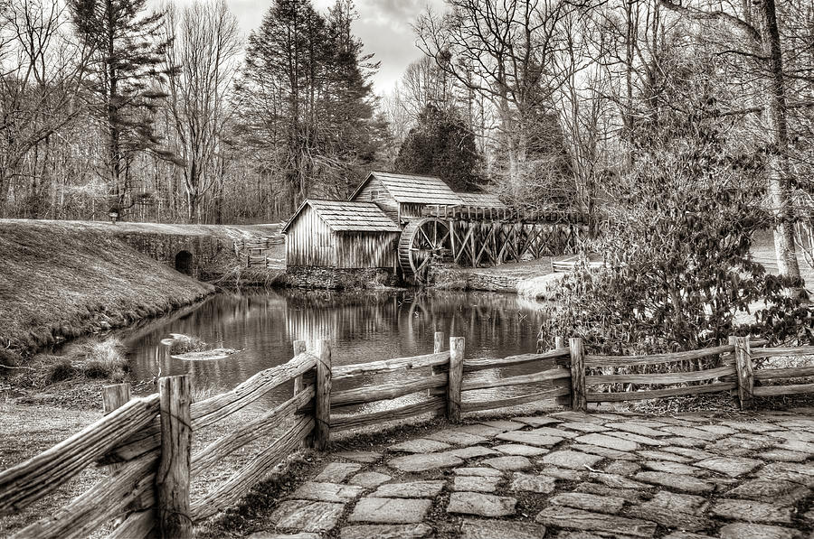 The Mabry Mill Sepia Edition - Blue Ridge Parkway by Gregory Ballos