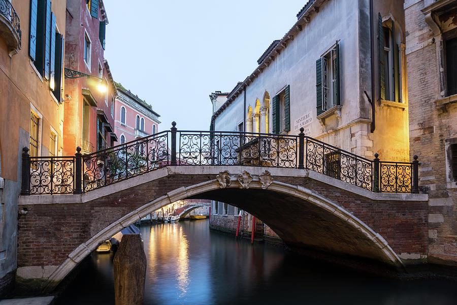 The Magic of Small Canals in Venice Italy - Beneath a Charismatic Wrought Iron Bridge by Georgia Mizuleva