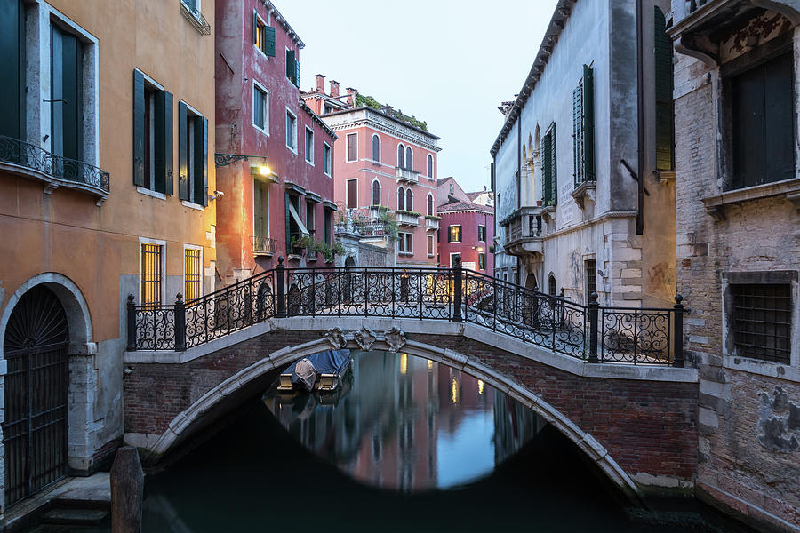 The Magic of Small Canals in Venice Italy - Charismatic Wrought Iron Bridge  by Georgia Mizuleva
