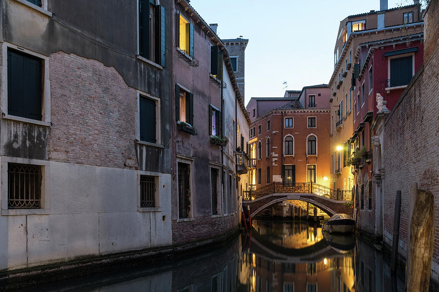 The Magic of Small Canals in Venice Italy - Ponte Balbi Bridge Golden Glow  by Georgia Mizuleva
