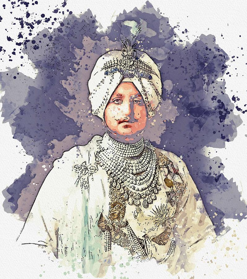The Maharaja, Bhupinder Singh, of Patiala in the Punjab region of India, 1911 watercolor by Ahmet As by Celestial Images