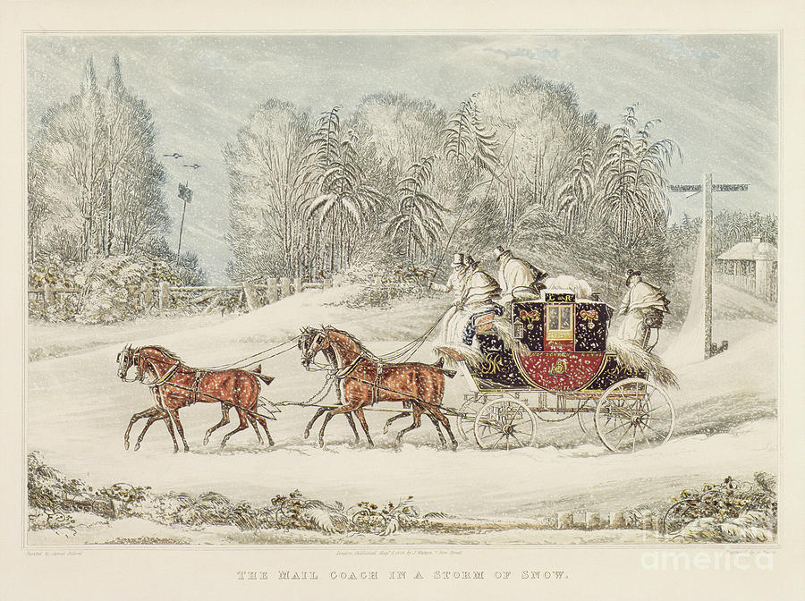 Signpost Painting - The Mail Coach In A Storm Of Snow 1825 by James Pollard