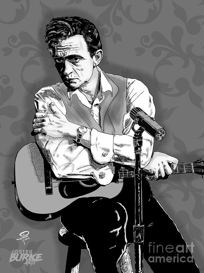 Johnny Cash Digital Art - The Man in Black by Joseph Burke