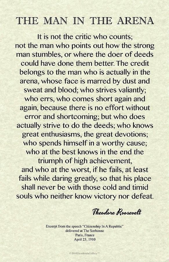 The Man In The Arena by Teddy Roosevelt Classic Design on Parchment by Desiderata Gallery