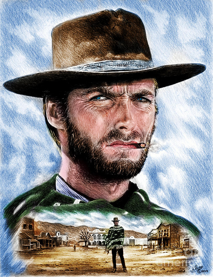 Clint Eastwood Drawing - The Man with no name colour 2 by Andrew Read