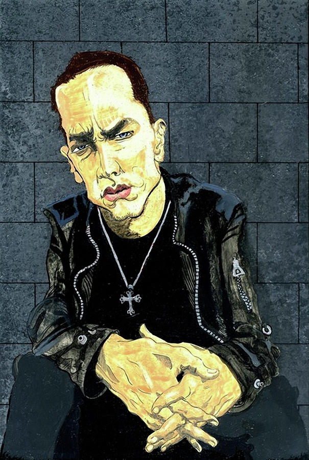 Detroit Painting - The Marshall Mathers Ap - Eminem by Ebenlo - Painter Of Song