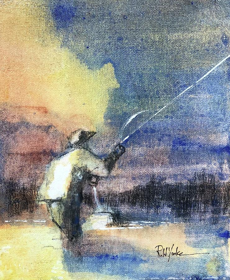 Fly Fishing Painting - The Mend by Robert Yonke