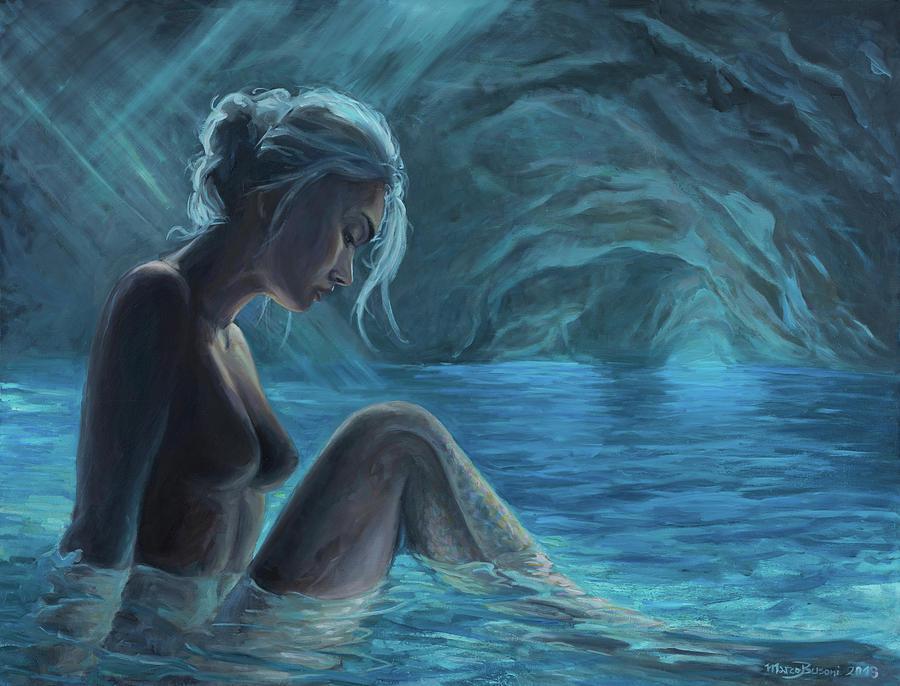 Mermaid Painting - The Mermaid Of The Blue Cave by Marco Busoni
