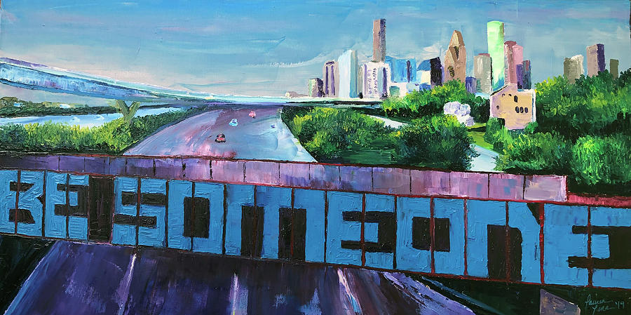 Houston Skyline Painting - The Message by Lauren Luna