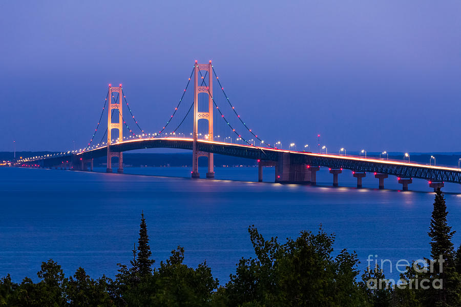 Forest Photograph - The Mighty Mackinac Bridge Connecting by Kenneth Keifer
