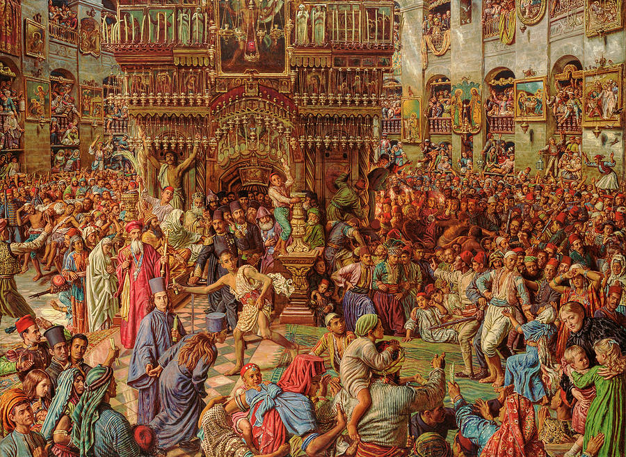 William Holman Hunt Painting - The Miracle Of The Sacred Fire, Church Of The Holy Sepulchre, 1899 by William Holman Hunt