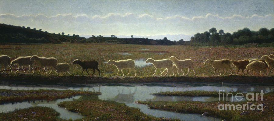 Sheep Painting - The Mirror Of Life by Giuseppe Pellizza da Volpedo