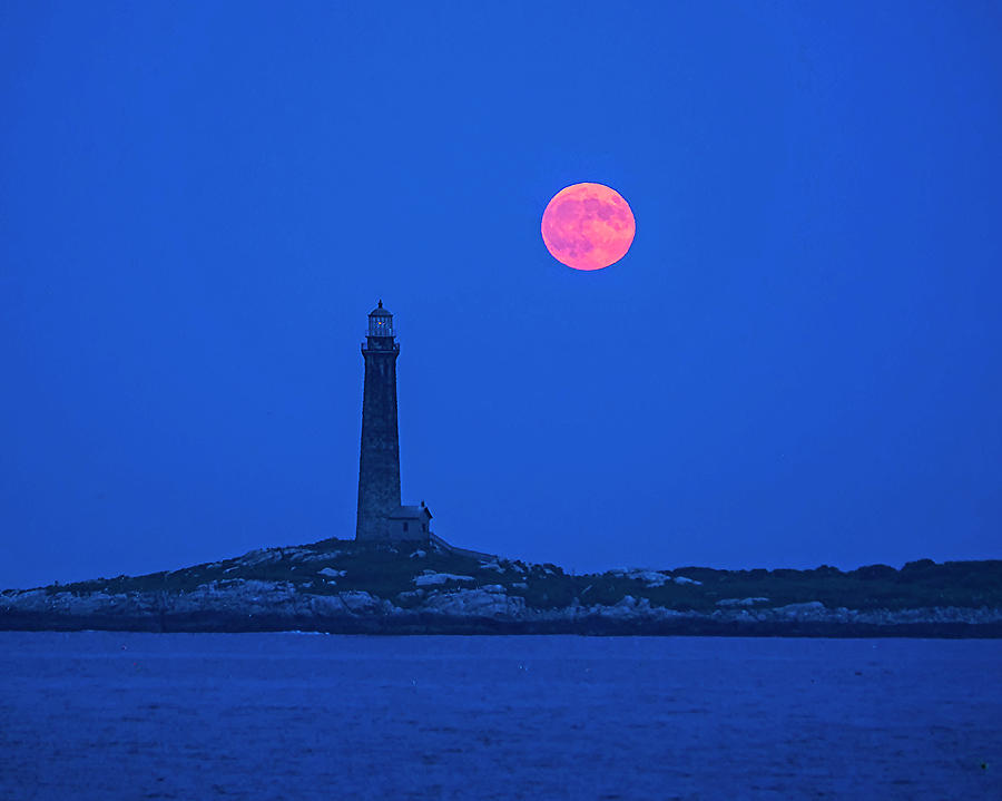 The moon rises over Thacher Island Lighthouse Rockport MA by Toby McGuire
