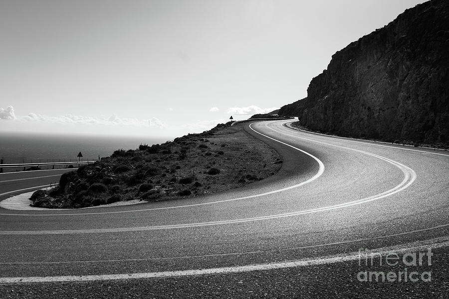 The mountain road of Crete in Black and white, Greece by Didier Marti